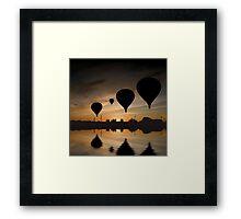 Sunset Balloon Reflection Framed Print