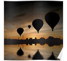Sunset Balloon Reflection Poster