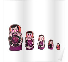 Russian Nesting Dolls - Red Poster
