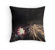 fireworks over the cresecent moon Throw Pillow