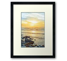 beal beach rocks and kelp sunset Framed Print