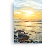 beal beach rocks and kelp sunset Canvas Print