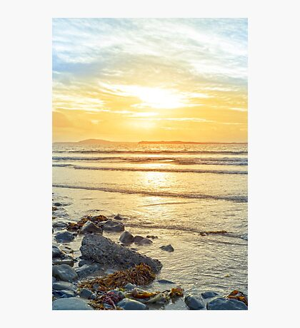 beal beach rocks and kelp sunset Photographic Print
