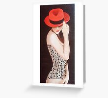 Woman in Black Lace Corset Greeting Card