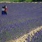 Couple photographing in lavender field by Jamie Alexander