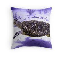 Swimming Hawksbill Turtle Throw Pillow