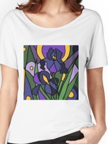 Awesome Blue Iris Floral Abstract Original Women's Relaxed Fit T-Shirt