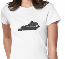 Born and Raised Kentucky Black Womens Fitted T-Shirt