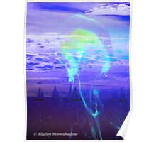 Jellyfish with Yachts at Twilight Poster
