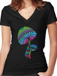 Shrooms - green/blue Women's Fitted V-Neck T-Shirt