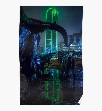 Foggy Pioneer Plaza Cattle Drive at Night Poster