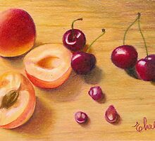 apricots and cherries by Elena Malec
