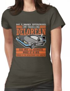 Doc E. Brown Time Travelling Delorean Womens Fitted T-Shirt