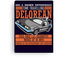Doc E. Brown Time Travelling Delorean Canvas Print