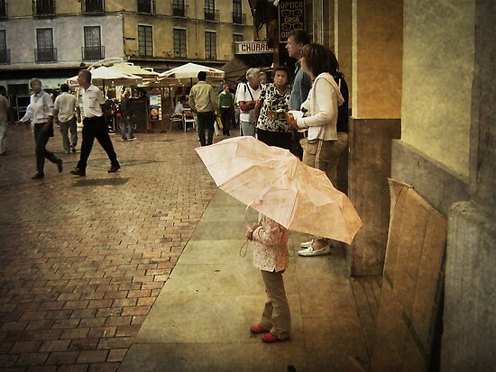 Little Girl Holding an Umbrella by Maria  Gonzalez
