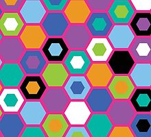 Multi-Color Hexagons by hartzelldesign