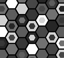 Black and White Hexagons by hartzelldesign