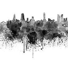 Manama skyline in black watercolor  by paulrommer