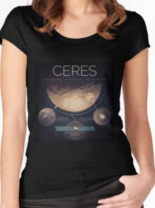 Dwarf Planet Ceres Infographic NASA Women's Fitted Scoop T-Shirt