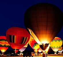 Hot Air Balloons At Night by smhawkins