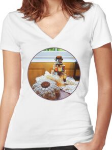 Thread Carousel and Lace Women's Fitted V-Neck T-Shirt