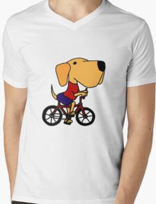 Funny Yellow Labrador Riding Bicycle Mens V-Neck T-Shirt