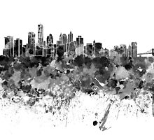 New York skyline in black watercolor by paulrommer