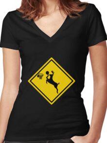 Deer Dunk Women's Fitted V-Neck T-Shirt