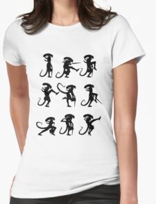 Ministry of Alien Silly Walks (Black Version) Womens Fitted T-Shirt