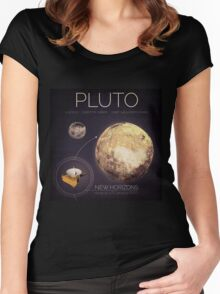 Planet Pluto Infographic NASA Women's Fitted Scoop T-Shirt