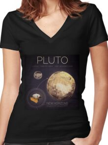 Planet Pluto Infographic NASA Women's Fitted V-Neck T-Shirt