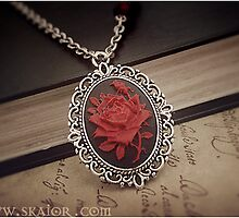 Blood Rose Gothic Cameo Necklace by SKAIOR Designs