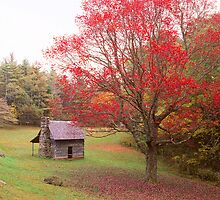 CABIN,FALL by Chuck Wickham