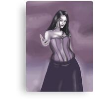 woman beckoning in purple Canvas Print