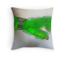 Green hair day Throw Pillow