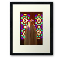 Veiled girl in a mosque, Iran Framed Print