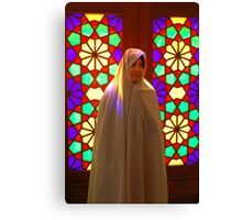Veiled girl in a mosque, Iran Canvas Print