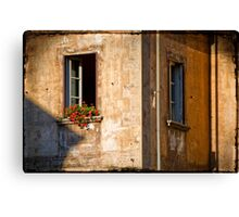 Window with geraniums Canvas Print