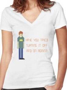 The IT Crowd – Have You Tried…? Women's Fitted V-Neck T-Shirt