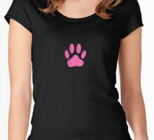Hot Pink Dog Paw Print Women's Fitted Scoop T-Shirt