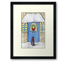 Cat Christmas Gift In the Snow Framed Print