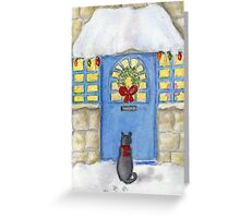 Cat Christmas Gift In the Snow Greeting Card