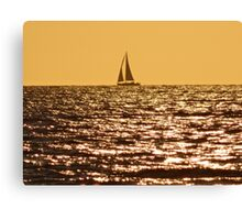 SAIL BOAT AT SUNSET ON THE NORTH SEA Canvas Print