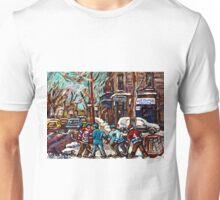 BOYS OF POINTE ST CHARLES STREET HOCKEY ART MONTREAL WINTER SCENES Unisex T-Shirt