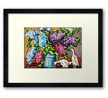 LILAC FLORAL BOUQUET WITH CERAMIC DUCKS ORIGINAL PAINTING  Framed Print