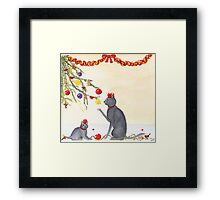 Mother Cat And Kitten Playing With Chrstmas Tree Framed Print