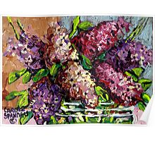 LILACS IN A GLASS VASE BEAUTIFUL FLORAL PAINTING Poster