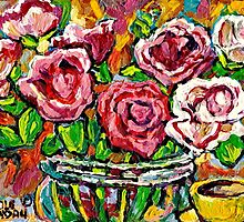 RED ROSES IN A GLASS VASE BEAUTIFUL FLORAL ARRANGEMENT  ORIGINAL PAINTING by Carole  Spandau