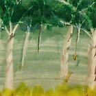 Among the trees, watercolor by Anna  Lewis