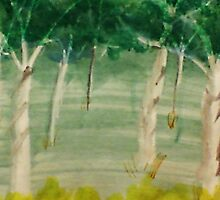 Among the trees, watercolor by Anna  Lewis, blind artist